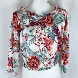 American Rag Womens Peasant Top Cropped Floral S